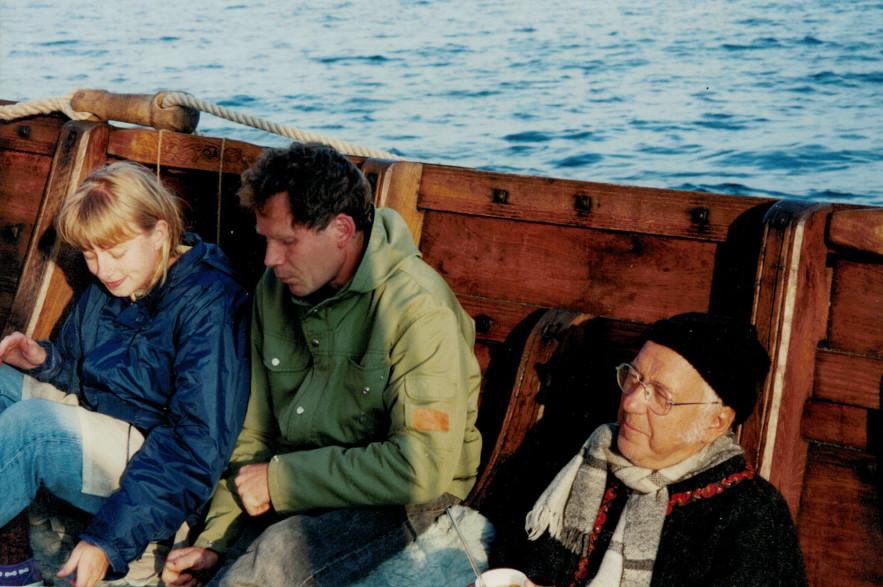 Carina Kvick, Jan Axhage och Anders Lindahl sliter i hård kryss på Vänern 1995.